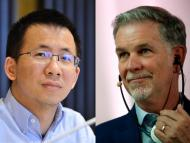 ByteDance cofounder & CEO Zhang Yiming, left; and Netflix CEO Reed Hastings. VCG/VCG via Getty Images; Reuters/Gonzalo Fuentes/File Photo