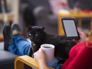 Mujer lee en un ebook con un café y su gato.