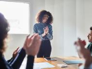 reunión, éxito compañeros de trabajo