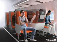 A reversible middle seat means airlines can maintain their passenger capacity. Avio Interiors