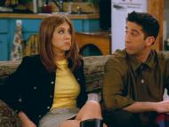 Jennifer Aniston como Rachel Green, junto a David Schwimmer como Ross Geller, en 'Friends'.