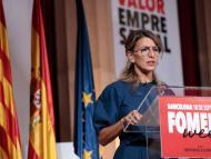 La ministra de Trabajo, Yolanda Díaz, en un acto de Foment del Treball
