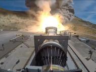Northrop Grumman ignites its Flight Support Booster-1 test of a solid-fuel rocket for NASA's Space Launch System on September 2, 2020. NASA TV/Nothrop Grumman