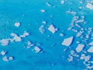 Los trozos de hielo flotan en el agua del deshielo en la cima del glaciar Helheim cerca de Tasiilaq, Groenlandia.
