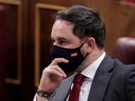 Santiago Abascal, líder de Vox, durante la moción de censura a Pedro Sánchez