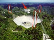 Antena de radio de Arecibo, en el observatorio de Puerto Rico, Fundación Nacional de Ciencia NAIC SNF.