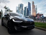 Tesla Model X electric vehicle is shown in Moscow