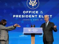 Kamala Harris y Joe Biden en un acto en Wilmington, Delaware.