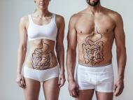 Concepto de salud intestinal masculina y femenina.