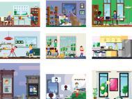 Varios dibujos de distintas casas.