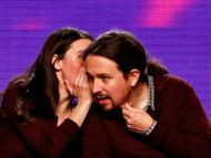 Irene Montero, ministra de Igualdad, junto a Pablo Iglesias, actual candidato de Unidad Podemos a las elecciones de la Comunidad de Madrid.