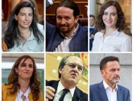 De izquierda a derecha: Rocío Monasterio (Vox), Pablo Iglesias (UP), Isabel Díaz Ayuso (PP), Mónica García (Más Madrid), Ángel Gabilondo (PSOE) y Edmundo Bal (Ciudadanos).