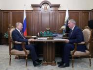 putin junto a Dmitry Rogozin Roscosmos Rusia