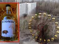 Botellas de vodka con manzanas de Chernóbil
