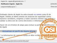 Un ejemplo de phishing suplantando a Apple.