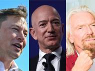 Elon Musk (left), Jeff Bezos (center), and Richard Branson.