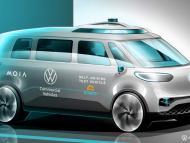 Imagen de la furgoneta autónoma de Volkswagen ID.Buzz