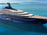 An artist's impression of Somnio, the world's biggest yacht, will have 39 luxurious apartments onboard.