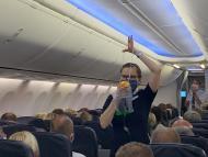 Una azafata en un avión