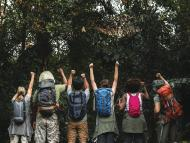 Camping grupo mochilas