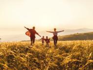 Familia feliz de espaldas en el campo