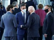 Justin Trudeau, primer ministro de Canadá; Pedro Sánchez, presidente del Gobierno de España, y Joe Biden, presidente de Estados Unidos