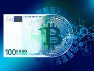 Mitad bitcoin, mitad billete de 100 euros.