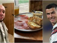 A selfie of the author Barnaby Lane, a plate of breakfast food, and Cristiano Ronaldo are shown side-by-side.
