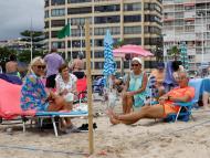 Turismo en España en la playa de Benidorm.
