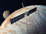 Esta ilustración, actualizada en diciembre de 2020, muestra la nave espacial Europa Clipper de la NASA.