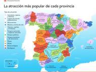 Mapa atracciones más populares de cada provincia española