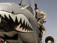 Avión con dientes de tiburón