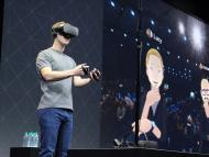 Facebook CEO Mark Zuckerberg on stage at an Oculus developers conference in 2016.