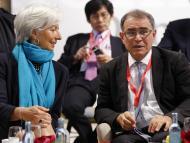 Nouriel Roubini con la presidenta del Banco Central Europeo, Christine Lagarde.
