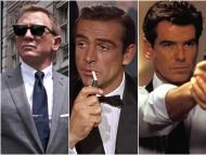 Pictures of Daniel Craig, Sean Connery, and Pierce Brosnan as James Bond.