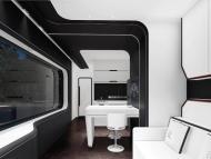 Sala de estar y cocina de las casas prefabricadas futuristas de Nestron.