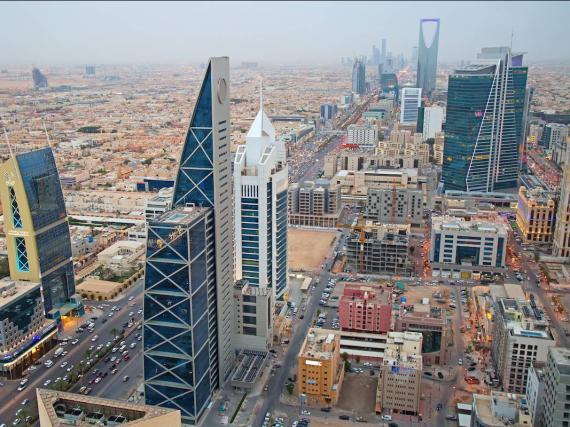 Vista aérea del distrito financiero de Riad (Arabia Saudí) en agosto de 2016.