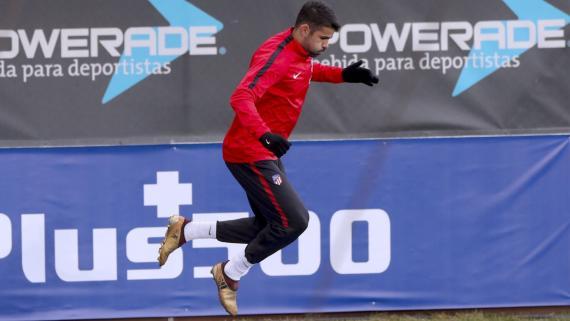 Diego Costa ejercitándose con el Atlético de Madrid