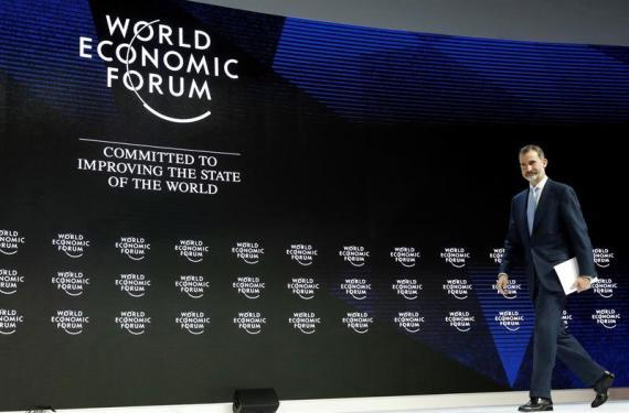 El Rey Felipe VI, poco antes de su intervención en el Foro Económico Mundial de Davos esta semana.