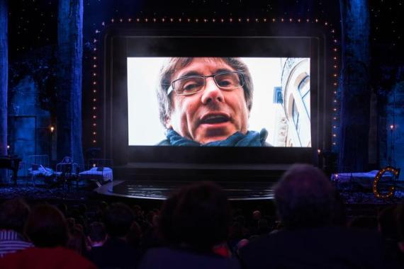 Vídeo de Carles Puigdemont en los Premios Gaudí, el pasado domingo.