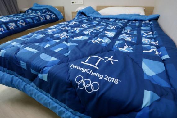 Camas de la Villa Olímpica de Pyongchang.