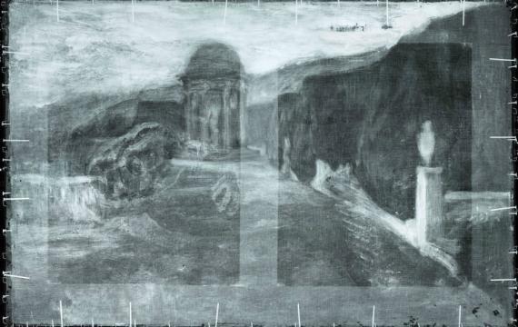 El retrato de un paisaje elaborado por un artista sin identificar oculto debajo del cuadro 'La miséreuse accroupie' de Picasso.