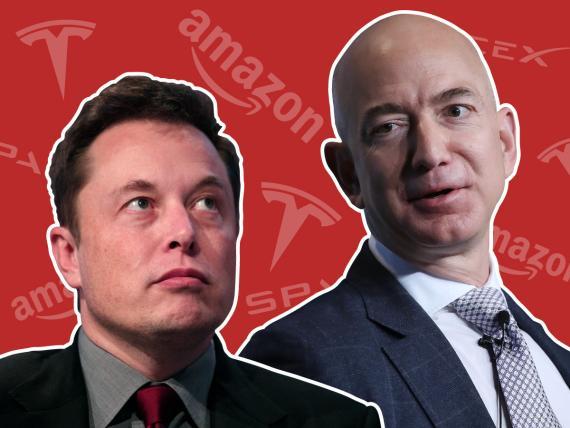 La batalla entre los dos iconos del mundo empresarial Elon Musk y Jeff Bezos.
