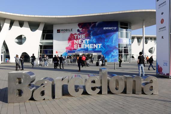 La entrada principal al recinto donde se celebra el Mobile World Congress.