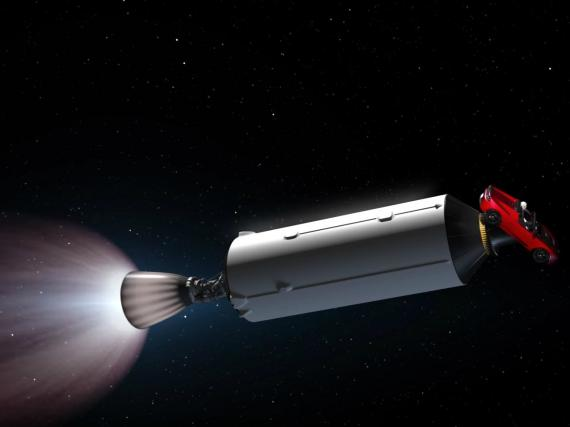 Una simulación del Falcon Heavy en el espacio.