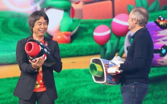 Miyamoto en la presentación de 'Mario Rabbids Kingdom Battle' en el E3.