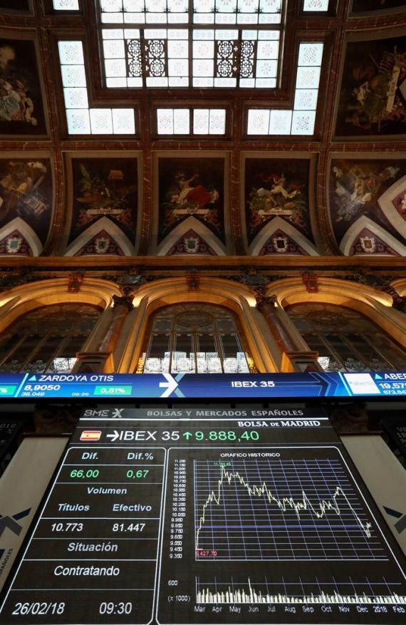 El IBEX 35, principal indicador de la Bolsa española, gana un 0,57 % el pasado lunes 26 de febrero.