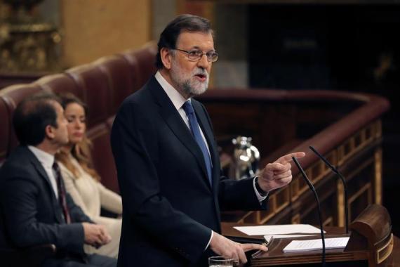 El presidente del Gobierno, Mariano Rajoy, durante su comparecencia hoy en el pleno del Congreso para explicar las propuestas del Ejecutivo en materia de pensiones y para la sostenibilidad del Sistema de la Seguridad Social.