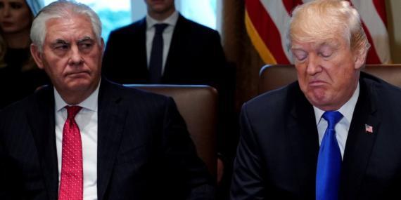 El secretario de Estado, Rex Tillerson, junto a Donald Trump, presidente de los Estados Unidos.