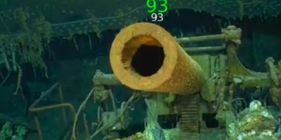 Un arma de defensa antiaérea encontrada junto a los restos del portaaviones USS Lexington